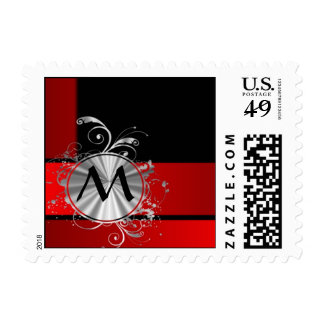 Modern red and silver monogram postage