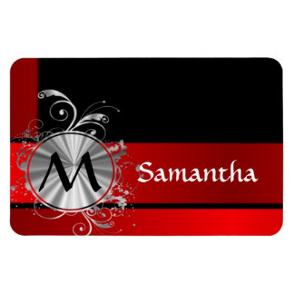 Modern red and silver monogrammed magnet