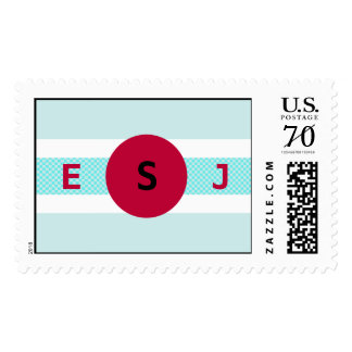 Modern Red and Teal Stamp