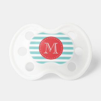 Modern Red and Teal Stripes Custom Monogram Pacifier