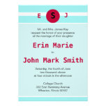 Modern Red and Teal Wedding Invitation