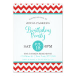 Modern Red and Turquoise Chevron Birthday Party Card