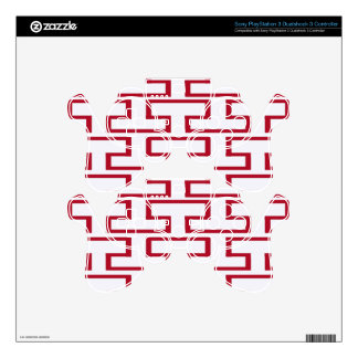 Modern Red and White Bricks PS3 Controller Skin