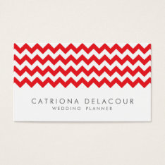 Modern Red And White Chevron Pattern Business Card at Zazzle