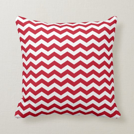 Modern Family Throw Pillows : Modern Red and White Chevron Pattern Throw Pillow Zazzle