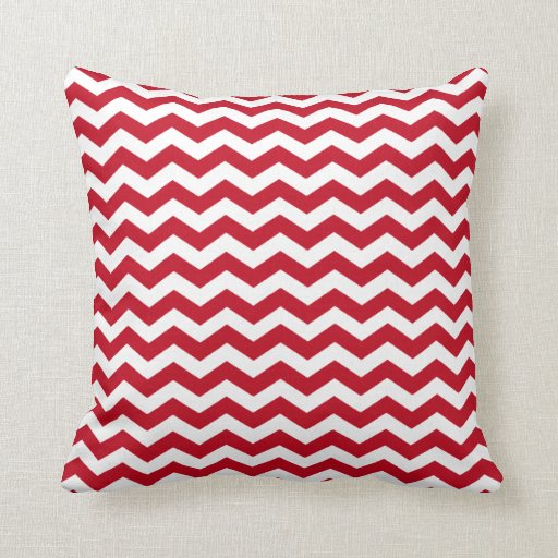 Modern Red Accent Pillows : Modern Red and White Chevron Throw Pillow Zazzle