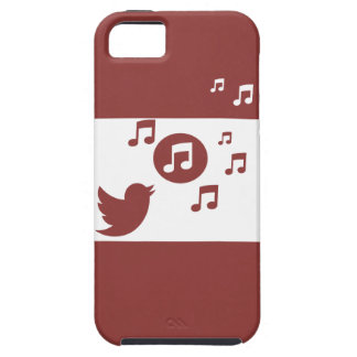 Modern red and white chic songbird and music notes iPhone 5 case
