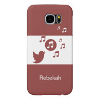Modern red and white chic songbird and music notes samsung galaxy s6 cases