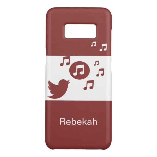 Modern red and white chic songbird and music notes Case-Mate samsung galaxy s8 case