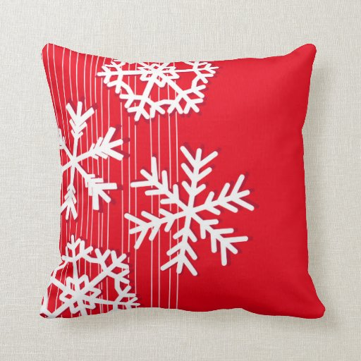 Modern Red Pillows : Modern red and white Christmas white snowflakes Pillows Zazzle