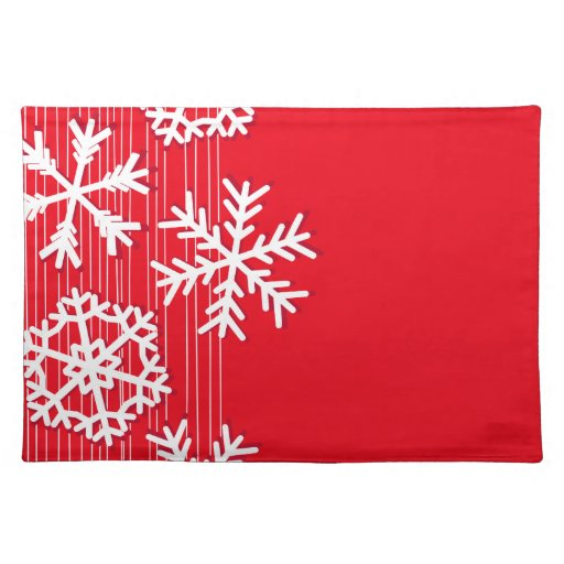 Dining table dining table mats designs - Modern Red And White Christmas White Snowflakes Placemat Zazzle