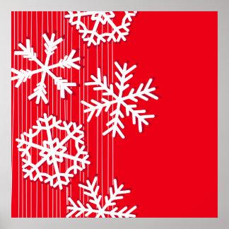 Modern red and white Christmas white snowflakes Print