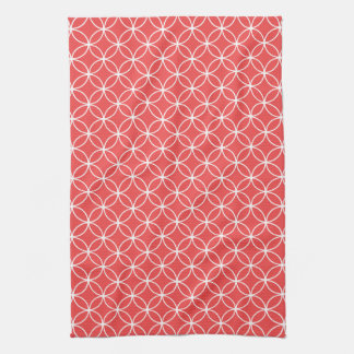 Modern Red and White Circle Diamond Pattern Towels