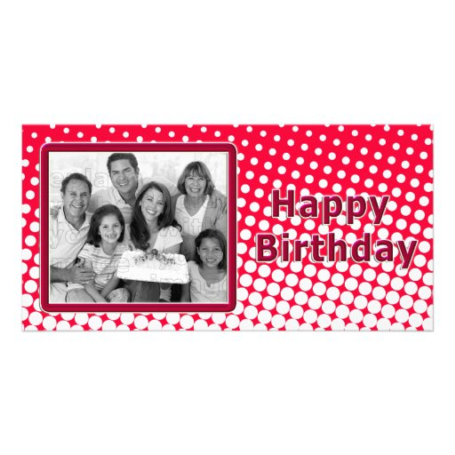 Modern red and white design photo card
