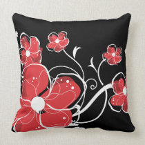 Modern Red and White Floral Design Throw Pillows