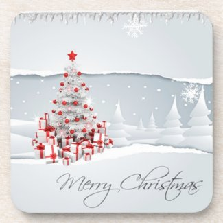 Modern Red and White Holiday Christmas Coasters