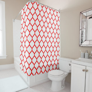 Modern Red And White Moroccan Qutrefoil Pattern Shower Curtain