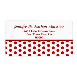 Modern Red and White Polka Dots Label