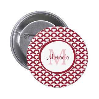 Modern Red and White Scallops Monogram and Name Button