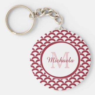 Modern Red and White Scallops Monogram and Name Keychain