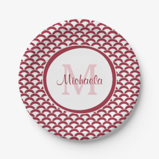 Modern Red and White Scallops Monogram and Name Paper Plate