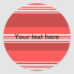 Modern red and white stripes round stickers