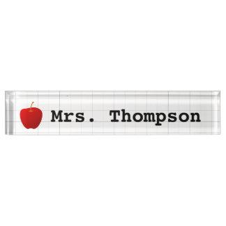 Modern Red Apple Teacher Name Plate