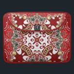 """Modern Red Batik Art Rickshaw Flap Sleeve<br><div class=""""desc"""">Modern Batik,  Bali Indonesia inspired design in earthy colours of red,  whites,  gold and teal green : choose your preferred binding and inlay colours to suit your style</div>"""