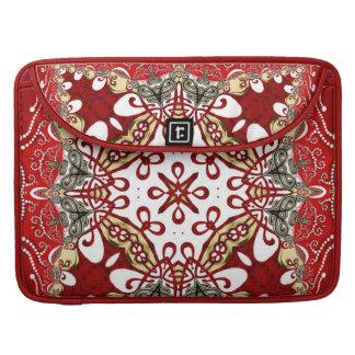 Modern Red Batik Art Rickshaw Flap Sleeve Sleeves For MacBook Pro
