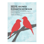 Modern Red Bird Bridal Shower Invitations Custom Announcements
