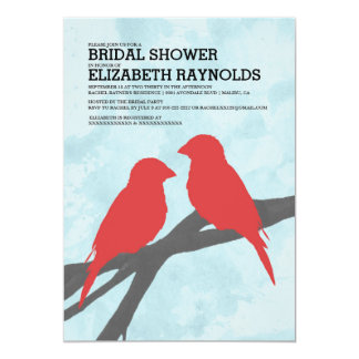 Modern Red Bird Bridal Shower Invitations