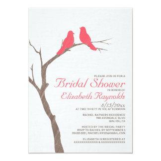 Modern Red Birds Bridal Shower Invitations