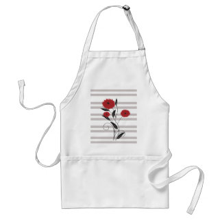 Modern red Black and gray floral Apron
