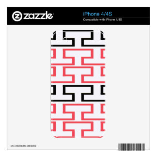 Modern Red Black and White Bricks Decal For The iPhone 4