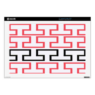 """Modern Red Black and White Bricks Decals For 17"""" Laptops"""
