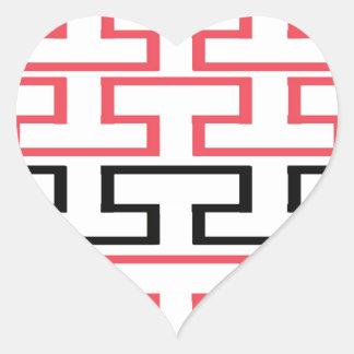 Modern Red Black and White Bricks Heart Sticker
