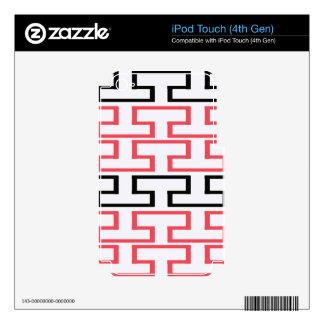 Modern Red Black and White Bricks iPod Touch 4G Skin