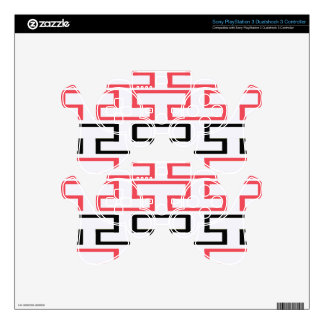 Modern Red Black and White Bricks PS3 Controller Skins