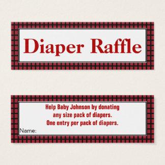 Modern Red,Black and White Diaper Raffle Mini Business Card