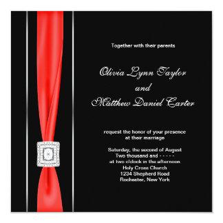 Modern Red Black Black Wedding Personalized Invites