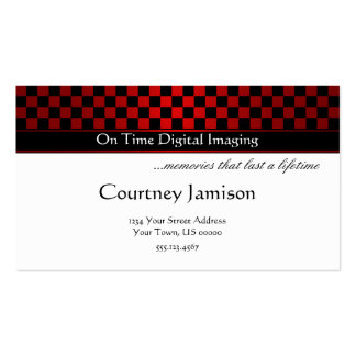 Modern Red Black Checkers Pattern Business Card