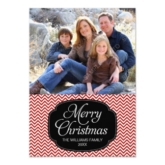 Modern Red Black Chevron Christmas Photo Card