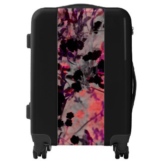 Modern red black flower asian style design art luggage