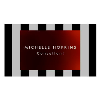 Modern Red Black Gray Stripes Professional Chic Business Card
