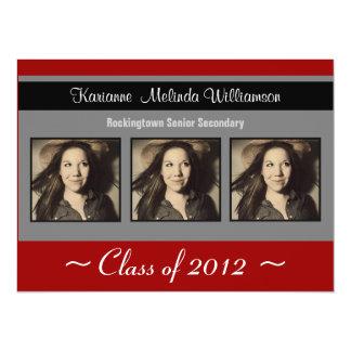 "Modern Red Black Photo Graduation Announcement 5.5"" X 7.5"" Invitation Card"