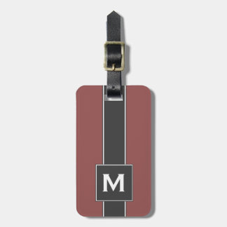 Modern Red & Black Striped Personalized Monogram Luggage Tag