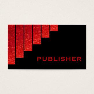 Modern red, black vertical stripes publisher business card