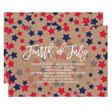 USA Themed Modern red blue stars confetti kraft 4th of July Card