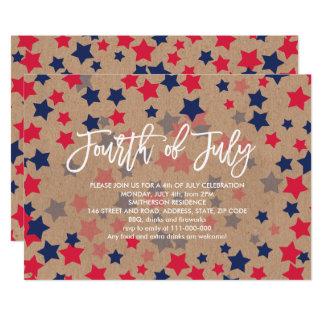 Modern red blue stars confetti kraft 4th of July Invitation