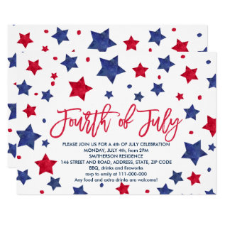 Modern Red Blue Watercolor Stars 4th Of July Card at Zazzle